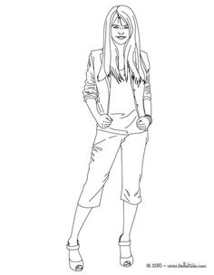 Selena Gomez stand up coloring page. More Selena Gomes content on hellokids.com