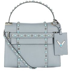 Valentino My Rockstud Rolling Top Handle Bag (£2,240) ❤ liked on Polyvore featuring bags, handbags, mini bag, over the shoulder handbags, mini purse, structured bag and strap purse