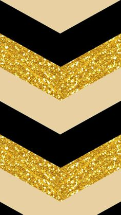 Sparkly Chevron: A chevron print is reimagined in gold sparkles, black, and cream.