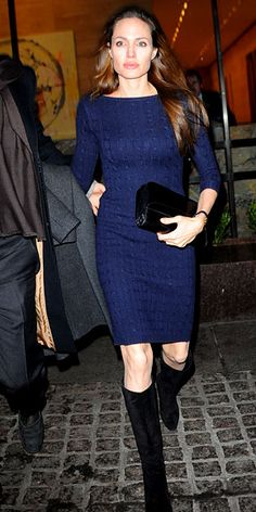 Angelina Jolie in Loro Piana sweater dress and Ferragamo boots