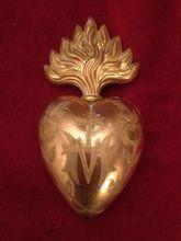 French ormolu flaming sacred heart ex voto reliquary