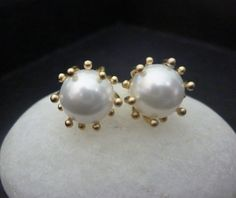 big pearl stud earrings with gold