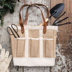 Seed & Supply Garden Tote - Magnolia Market | Chip & Joanna Gaines. $68.00  Burlap & Leather straps.  13.5 x 13.5 x 7