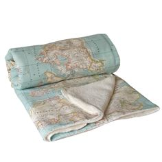 World Map Blanket, map blanket, blue blanket, map fabric, throw blanket, Dorm decor, Dorm Blanket, Travel Blanket, globe blanket, atlas. by WIKIPILLOW on Etsy https://www.etsy.com/listing/211950837/world-map-blanket-map-blanket-blue