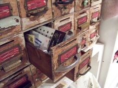 Adding mismatched handles to this vintage cabinet increase its appeal
