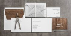 Mid-Century Modern Wedding Invitation / Marble Vellum Envelope with Leather Wrap / Wood Grain Envelope and Liner / Metallic Letterpress / Blind Deboss / Herringbone Print / Bliss & Bone