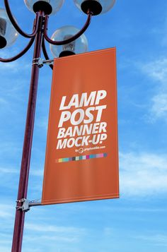 FREE lamp post banner PSD mockup #free #signage #environment #flag