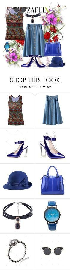 """""""Denim skirt-zaful.com"""" by ane-twist ❤ liked on Polyvore featuring zaful"""