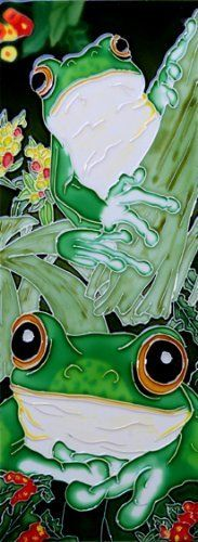 """2 Frogs on the Tree - Decorative Ceramic Art Tile - 6""""x16"""" by entiles.com. $39.99. We make every effort to process your order within 24 hours. Hang on the wall with built-in hook and backing is removable to install as a standard tile or can be used as a hot plate. FREE HIGH QUALITY UNIQUE GIFT BOX. WORLDWIDE EXCLUSIVE IMAGE FOR EN VOGUE-ART ON TILES. Hand crafted art tile, brilliantly colored, with complex glazes; unique textures and kiln fired at high temperature.. This cera..."""