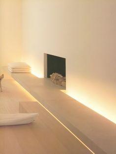 Lit Concrete Bench Fireplace - My Vibe My Tumblr