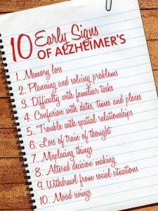 It may be hard to know the difference between age-related changes and the first signs of Alzheimer's disease. Ask yourself: Is this something new? The 10 Signs of Alzheimer's