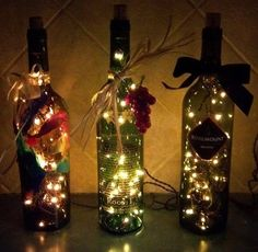 wine bottle DIY christmas lights. Collecting wine bottles from work!