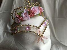 Professional Pink Gold AB Crystal Ballet Tiara Headpiece Fairy Aurora Dulcinea #Handmade #Princess