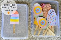 Be A Fun Mum:: paddle pop stick memory game Preschool Learning Activities, Learning Games, Craft Activities For Kids, Activity Games, Toddler Activities, Preschool Activities, Games For Kids, Crafts For Kids, Teaching Ideas