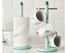Mug and Kitchen Towel Tree Set in Mint, kitchen organise holder storage #Klife