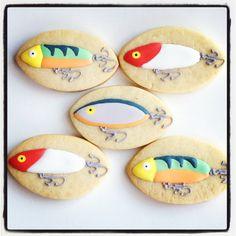 Homepage - Fishing Tips Fish Cookies, Man Cookies, Iced Cookies, Cute Cookies, Sugar Cookies, Cookies Et Biscuits, Cookie Icing, Royal Icing Cookies, Camping Cookies