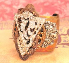 Wedding Jewelry - Philosophy - Gorgeous Art Deco Cuff Bracelet from Lorelei Designs