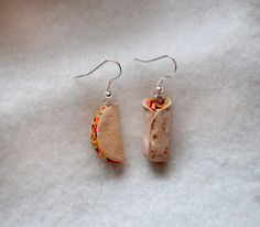 Polymer clay taco and burrito earrings