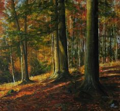 Lenka Krstic Autumn Day in the Forest Oil on panel Size: H x W x in 2017 Pencil Painting, Painting On Wood, Autumn Day, Autumn Trees, Fine Arts Subjects, Original Art, Original Paintings, Traditional Paintings, Art Oil