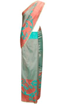 Sea green and peach handwoven running border sari with blouse piece by Archana Rao for Ekaya. Shop now: http://www.perniaspopupshop.com/designers/archana-rao-for-ekaya #sari #archanaraoforekaya #shopnow #perniaspopupshop