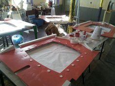 Painting inner rounding panels in the shop. #berkshirecarousel