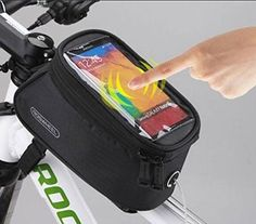 """Roswheel® Waterproof 4.2"""" 4.8"""" 5.5"""" Bike Bicycle Cycling Frame Pannier Front Tube Bag Saddle Bag Touchscreen Cell Phone Case Bag Phone Holder GPS Bag with Headphone Jack Reflective Strips for Safe Night Riding Suitable for iPhone Samsung HTC Nokia and other Smartphones (Black, L(5.5 inch)) -  Features:    1. Clear, high sensitivity PVC window designed for smartphones.  2. Easy access to all functions without opening the case, such as GPS navigation, reading messages, answeri"""