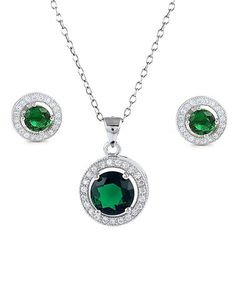 Another great find on #zulily! Green Cubic Zirconia & Sterling Silver Halo Necklace & Earrings #zulilyfinds