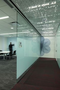 Office ceiling graphic glass signage