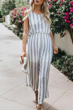 The maternity vertical striped sleeveless wide leg jumpsuit  with  elastic waist is so causal and you  will love it. #maternityjumpsuit #maternityjumpsuitoutfit #maternityjumpsuitoutfitrompers  #maternityjumpsuitsummer #maternityjumpsuitfashion #maternityjumpsuitoutfitformal Maternity Jumpsuit, Casual Maternity, Stripes Fashion, Vertical Stripes, Types Of Collars, Wide Leg, Casual Dresses, Rompers, Shirt Dress