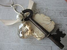 Artifact Necklace - Rustic and Elegant - Skeleton Key - White Turquoise Stone - Leather Cord - Pillow Cut Crystal on Etsy, $26.00