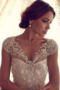 Gorgeous beaded wedding dress and vintage look