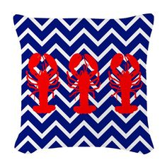 Use these Pillows to accent any living room or bedroom. Customize a pillow or pick from the many throw pillow designs in any size and fabric you want. Nautical Stripes, Chevron, Red Lobster, Lobsters, Designer Throw Pillows, Fabric, Art, Tejido, Art Background