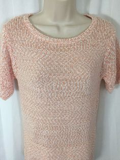 Lafayette 148 New York Peach Knit Scoop Neck Sweater Blouse S Cotton Top