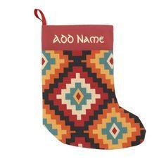 Traditional Romanian Folk Art Pattern Small Christmas Stocking - diy christmas cyo xmas personalize holidays merry christmas