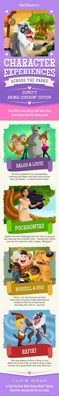 Disney World character experiences for your little ones - links out to character info for all 4 parks