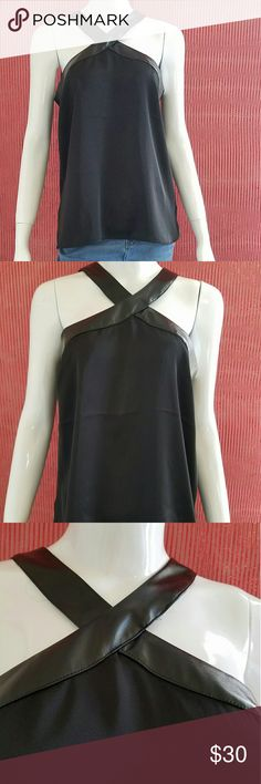 Guess halter top NWT G by Guess black halter top. Halter neck has leather look to it with semi sheer flowy material for the shell. Keyhole back with small zipper. Size: Med G by Guess Tops Blouses
