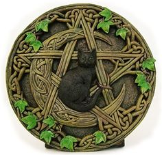 Cat Pentacle Wall Plaque Blending marvelous details with vines and Celtic knot work entangled around a Crescent Moon and a pentagram, within the center of which rests a black cat. Size: 7 in diameter. Pentacle, Dragons, Pagan Witch, Witches, Witch Spell, 3d Cnc, Celtic Art, Celtic Symbols, Celtic Crafts
