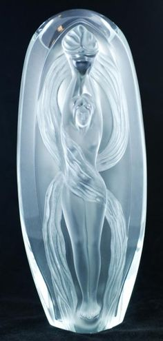 """Lalique French crystal """"Eroica"""" Vase. Signed M. Lalique and dated 1989."""
