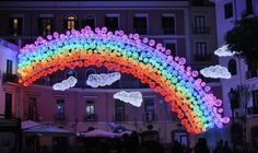Feeling a bit down? Perhaps this rainbow in Salerno's illuminated streets will cheer you up! Piccadilly Circus, Lighting Concepts, Cheer You Up, Public Art, Public Spaces, Light Art, Wonderful Time, Christmas Lights, Home Crafts
