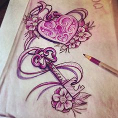 Cool key and lock with flowers drawing.. would be a really nice tattoo