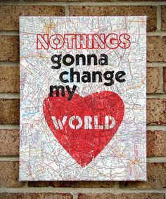 Vintage Map Art Canvas Nothings Gonna Change My by StoicDesign, $36.00