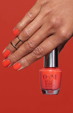 no shame in the selfie game. Try 'Me Myselfie and I' from the California Dreaming collection in our Infinite Shine three-step formula. Opi Gel Nails, Red Orange Nails, Orange Nail Polish, I Infinite, Opi Nail Colors, Vacation Nails, Finger, Nagel Gel, Polish