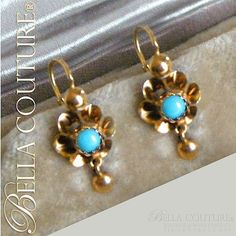 Bella Couture® - SOLD! - Gorgeous Antique Fench Victorian 18K Yellow Gold Persian Hue Turquoise Flower Earrings Jewelry Jewellr, $0.00 (http://www.bellacouture.com/sold-gorgeous-antique-fench-victorian-18k-yellow-gold-persian-hue-turquoise-flower-earrings-jewelry-jewellr/)