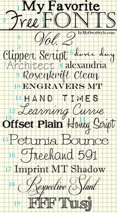 Free fonts, and a link to tutorial showing how to download them for free... LOVE this blog, tons of helpful info and creativity.
