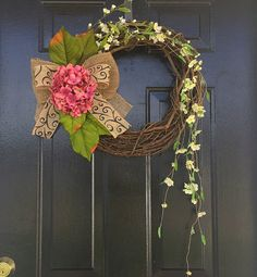 Pink Summer wreath with cascading floral by YourHandmadeWreath