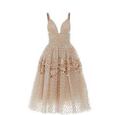 Carolina Herrera Embellished Tea Length Gown style=