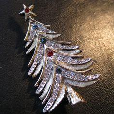 1960s Vintage LJM Christmas Tree Brooch Pin by BrightEyesTreasures, $19.99