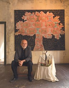 """The Artful Lodgers - Francesco Clemente with his painting, """"Tree of Life"""""""