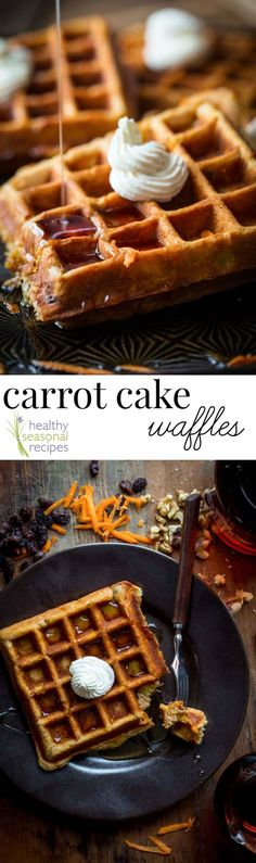 These Carrot Cake Waffles Are A Cross Between A Hearty, Wholesome Whole-Wheat Waffle And A Slice Of Carrot Cake. They Have 9 Grams Of Protein, 5 Grams Of Fiber And Nearly 25 Of The Rda For Vitamin An And C. Healthy Waffles, Healthy Breakfast Recipes, Protein Waffles, Healthy Eating, Food Trucks, Whole Wheat Waffles, Waffle Maker Recipes, Pancake Recipes, Carrot Recipes
