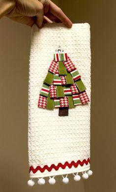 Hostess Gift: DIY Ribbon Trim Christmas tree towel